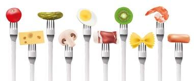 Presentazione dei prodotti alimentari differenti piantati su una forcella illustrazione vettoriale
