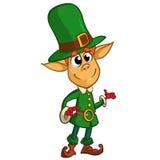 Presentazione del personaggio dei cartoni animati del leprechaun di giorno della st Patricks Illustrazione di vettore Fotografia Stock