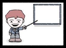 Presentazione dell'uomo d'affari del fumetto Fotografia Stock Libera da Diritti