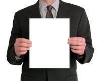 Presentazione dell'uomo d'affari (spazio in bianco) Fotografie Stock