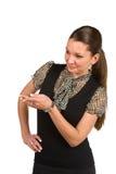 Presentazione della donna di affari Fotografie Stock