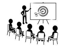 Presentazione di affari: Altoparlante davanti agli spettatori ed all'icona dell'obiettivo illustrazione di stock