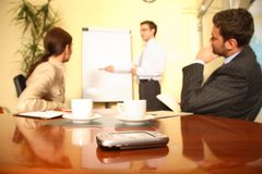 Presentazione di affari. palmtop nel fuoco. Fotografie Stock Libere da Diritti