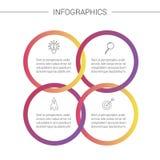 Presentazione di Infographics di affari Infographics di spiegazione variopinto con 4 opzioni ed icone fotografia stock