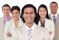 Presentazione di una squadra allegra di affari Immagini Stock Libere da Diritti