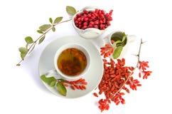 Presentazione per il tè antiossidante fresco di goji fotografia stock