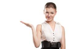 Presentazione sorridente della donna di affari Fotografia Stock