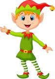 Presentazione sveglia del fumetto dell'elfo di natale Fotografia Stock