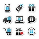 Presente, ícones de compra ajustados Foto de Stock