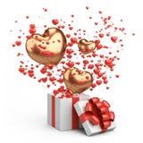 Presente aberto com corações dourados e vermelhos do voo da caixa Projeto do cartão do dia de Valentim - símbolos do amor ilustração do vetor