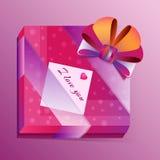 Presente apaixonado do vetor com cartão Foto de Stock Royalty Free