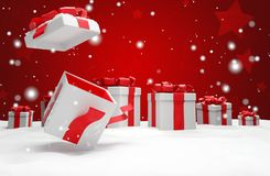 Presente aperto di sorpresa di natale con l'illustrazione della neve 3d royalty illustrazione gratis