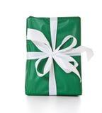 Presente avvolto di verde Immagini Stock Libere da Diritti