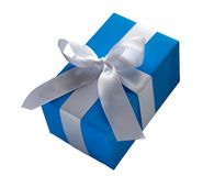 Presente azul foto de stock