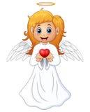 Presente biondo della ragazza dei capelli d'angelo un cuore rosso illustrazione vettoriale