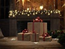 Presente bonito com ornamento do Natal rendição 3d Fotos de Stock Royalty Free