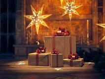 Presente bonito com ornamento do Natal rendição 3d Imagens de Stock