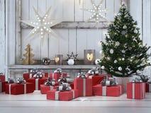 Presente bonito com ornamento do Natal rendição 3d Fotos de Stock