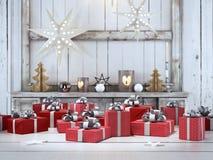 Presente bonito com ornamento do Natal rendição 3d Foto de Stock Royalty Free