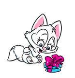 Presente bonito da surpresa do gato Foto de Stock Royalty Free