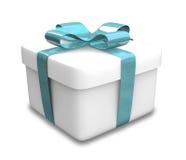 Presente branco e azul envolvido (3D) Imagens de Stock