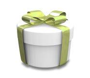 Presente branco e verde envolvido (3D) Fotos de Stock Royalty Free