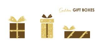 Presente brillante del oro del vector Fotografía de archivo libre de regalías