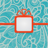 Presente com azul floral Fotos de Stock Royalty Free