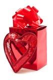 Presente com coração Foto de Stock Royalty Free