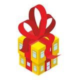 Presente da caixa da construção com curva vermelha Casa amarela com fita Fotografia de Stock Royalty Free