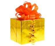 Presente da caixa dourado Imagem de Stock