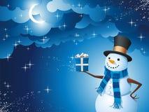 Presente da mágica do boneco de neve Imagens de Stock