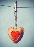 Presente de época natalícia do dia de Valentim do símbolo do amor da forma do coração Imagens de Stock Royalty Free
