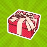 Presente de Art Retro Style Of Realistic del estallido de la caja de regalo con la cinta y arco en Dots Background Imagen de archivo