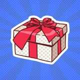 Presente de Art Retro Style Of Realistic del estallido de la caja de regalo con la cinta y arco en Dots Background Imagenes de archivo