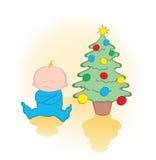 Presente de espera da criança sob a árvore de Natal Fotografia de Stock Royalty Free
