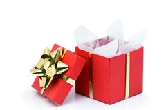 Presente de Natal aberto Imagens de Stock