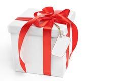 Presente de Natal com Tag em branco imagens de stock royalty free