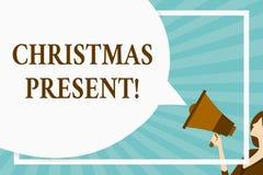 Presente de Natal do texto da escrita Significado do conceito apresentado como um presente dado em comemoração da placa enorme do ilustração do vetor