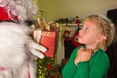 Presente de Santa Fotografia de Stock