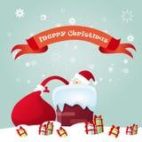 Presente de Santa Claus Hold Red Sack With, caixa de presente de época natalícia do Natal do ano novo Imagem de Stock