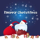 Presente de Santa Claus Hold Red Sack With, caixa de presente de época natalícia do Natal do ano novo Foto de Stock Royalty Free