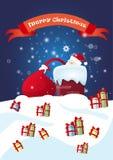 Presente de Santa Claus Hold Red Sack With, caixa de presente de época natalícia do Natal do ano novo Fotografia de Stock