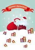 Presente de Santa Claus Hold Red Sack With, caixa de presente de época natalícia do Natal do ano novo Fotos de Stock