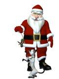 Presente de Santa a seu gato Fotos de Stock Royalty Free
