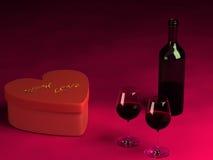 Presente del día de tarjeta del día de San Valentín, dos vidrios de vino y una botella. Imágenes de archivo libres de regalías