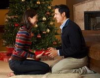 Presente di apertura delle coppie davanti all'albero di Natale Fotografie Stock
