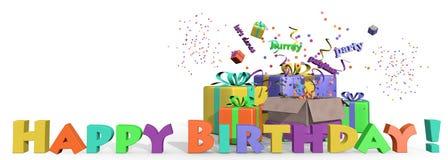 Presente di buon compleanno Fotografia Stock
