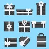 Presente di festa Stili differenti stabiliti dell'icona del contenitore di regalo Illustrazione di vettore Fotografie Stock Libere da Diritti