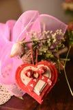 Presente do amor da paixão da flor do coração da festividade dos amantes do dia de Valentim do st da festa imagem de stock